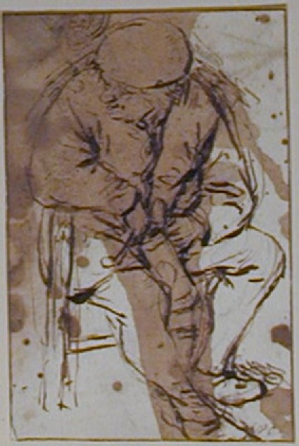 A seated Peasant, directed slightly to right, the Head turned to left