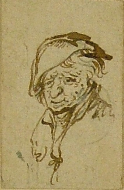 Head of a Peasant wearing a Hat, turned three-quarter to left, the features somewhat caricatured