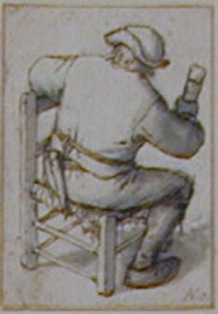 A Peasant seen from the back, sitting sideways on a chair and holding a tall drinking Glass
