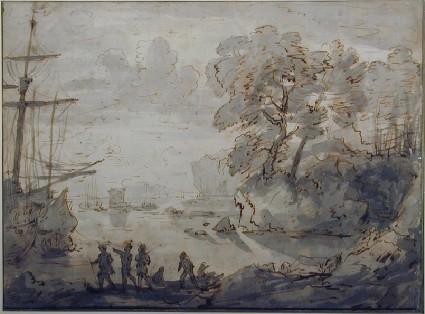 Recto: Figures by a seashore with ships on the left