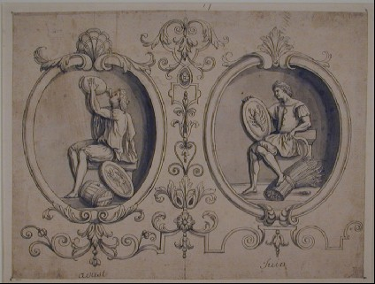 Two figures with the signs of Virgo and Cancer, representing the months of June and August