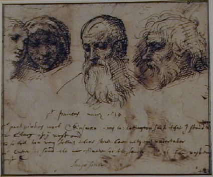Recto: Studies of heads
