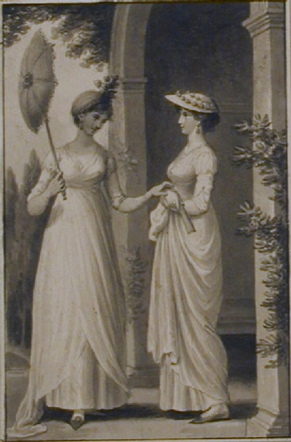 Two Ladies by an Arbour