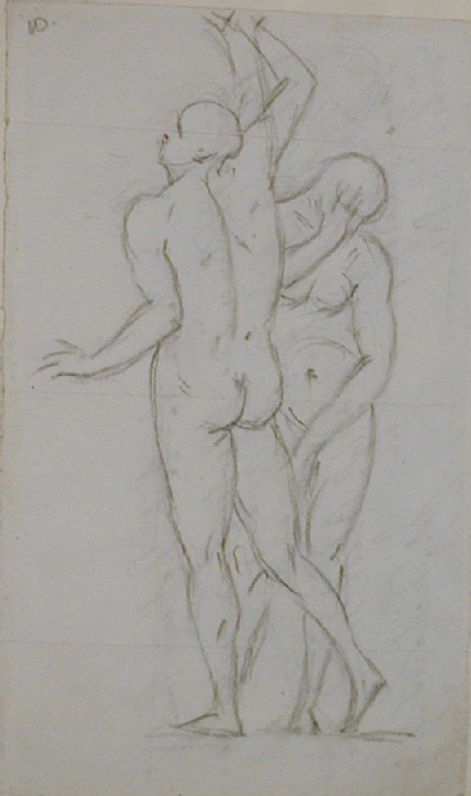 Recto: sketch of two standing nudes