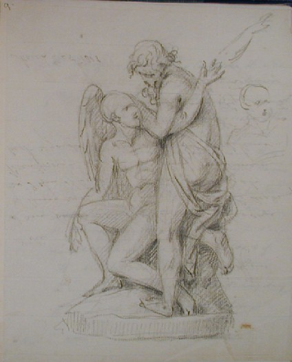 Recto: sketch of a sculpture