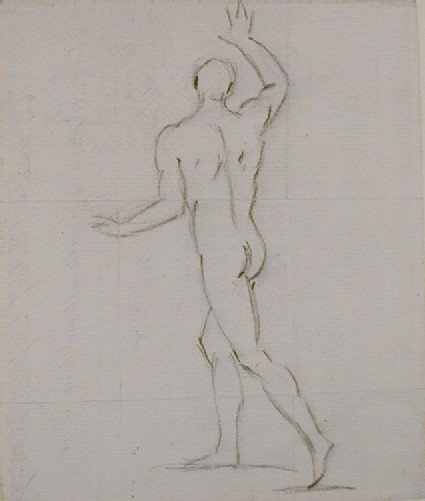 Recto: Rear view of a standing male nude