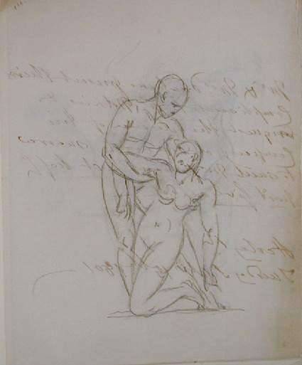 Recto: sketch of a male nude assisting a female nude