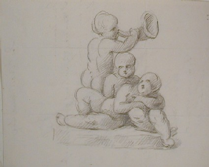 Recto: sketch of three cupids