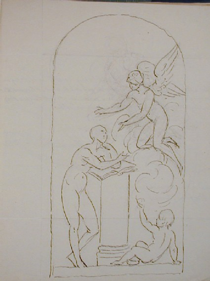 Recto: sketch for the monument to Jane Coke, Tittleshall, Norfolk<br />Verso: letter from to Nollekens from Thomas Stonor dated June 9 1802