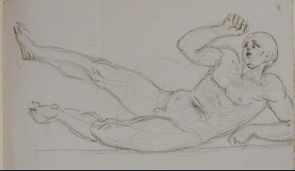 Recto: sketch of a fallen male nude<br />Verso: fragment of a letter to Nollekens dated June 11 1802