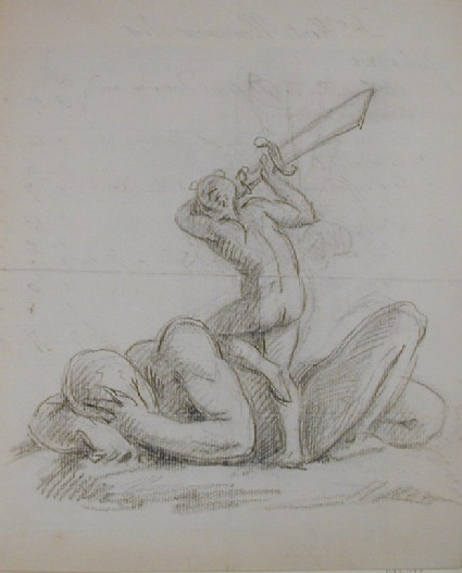 Recto: sketch of a male figure attacked by a demon wielding a sword