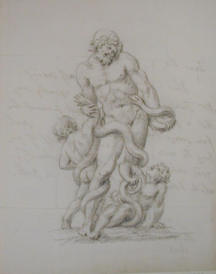 Recto: studies of a Laocoon group<br />Verso: letter to Nollekens from J. Bale dated May 12 1803