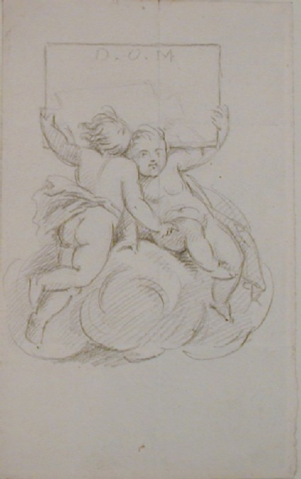 Recto: sketch of two cupids holding aloft a tablet inscribed D.O.M.