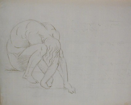 Recto: Sketch of a crouching nude figure with her head between her legs