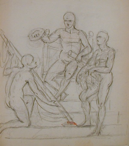 Recto: sketch of three nude figures, one enthroned, one kneeling, and one standing