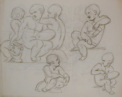Recto: sketches of putti, possibly representing Sculpture, Painting and Architecture