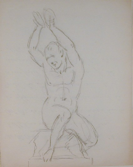 Recto: sketch of a nude figure holding cymbals above his head