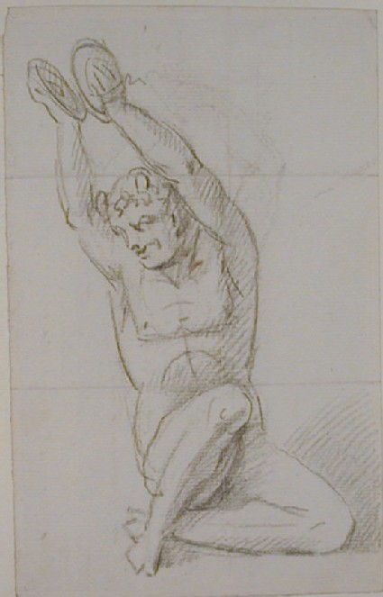 Recto: nude figure holding cymbals above his head