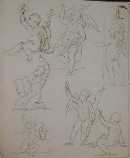 Recto: sheet of studies for an angel or possibly young St John<br />Verso: letter to Nollekens from Lady Bowyer