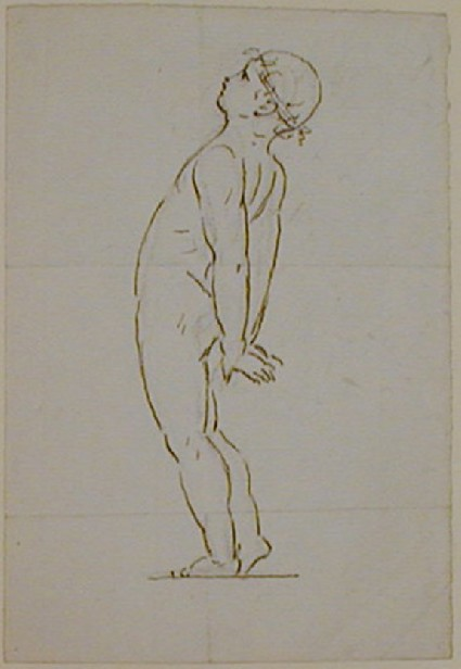 Recto: sketch of a nude boy leaning backwards