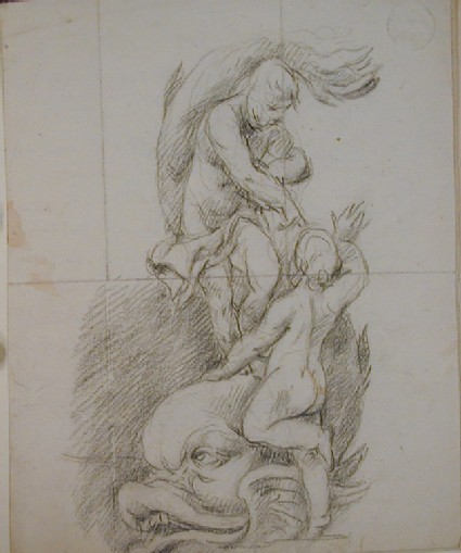 Recto: two figures with a dolphin<br />Verso: undated letter to Nollekens from D. Wilson