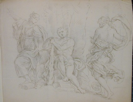 Recto: group of antique figures resting by a tree (The Choice of Hercules)<br />Verso: letter to Nollekens concerning a visit from Mr Palmer and Mr Digby, with a drawing of two masks