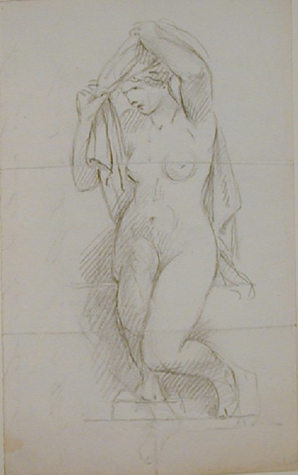 Recto: sketch of a female nude drying herself