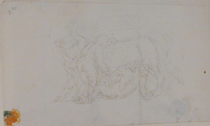Recto: two children with a wolf, possibly Romulus and Remus<br />Verso: an undated envelope addressed to Nollekens