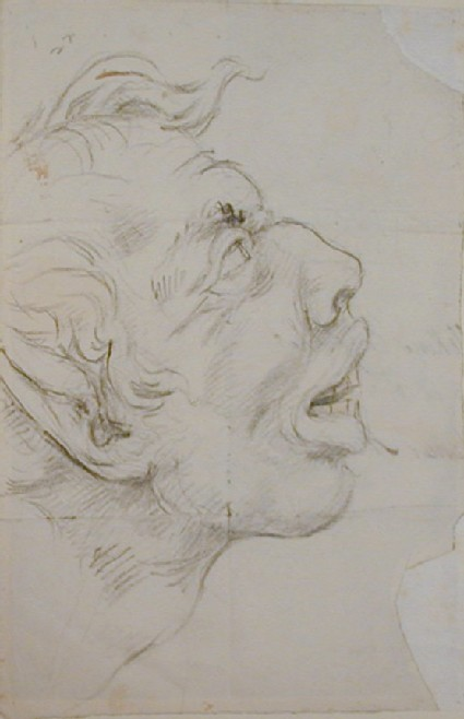 Recto: profile of a grotesque antique head<br />Verso: fragment of Nollekens's address on an envelope