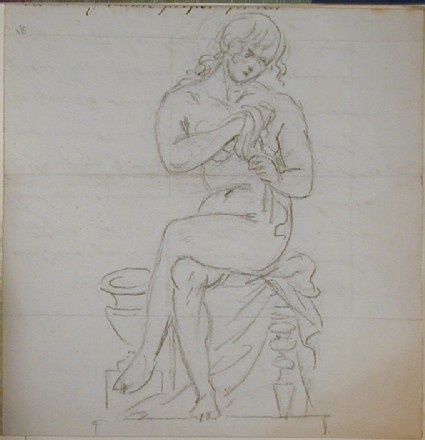 Recto: seated female nude drying herself