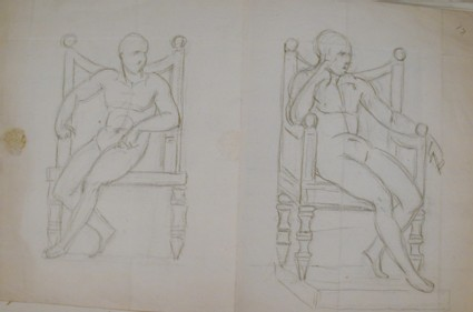 Recto: Two Sketches of a male nude figure enthroned