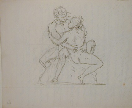 Recto: sketch of an embracing couple seated