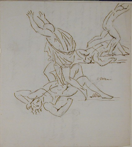 Recto: two sketches of a figure with arms upraised, stepping over a prostrate male figure