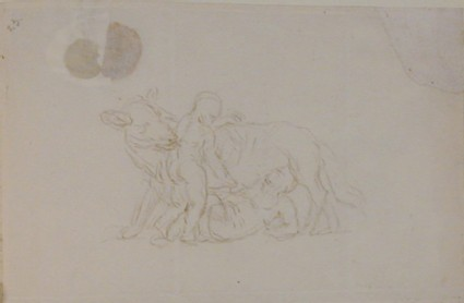 Recto: two children with a wolf, possibly Romulus and Remus <br />Verso: envelope with red seal, addressed to Nollekens