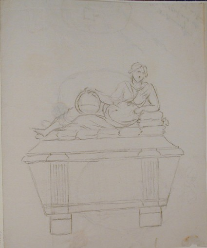 Recto: sketch of reclining female figure on a tomb