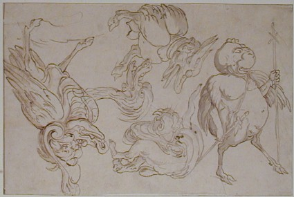 Four Monsters and the Head of a Monster, after A. van Bolten van Zwolle