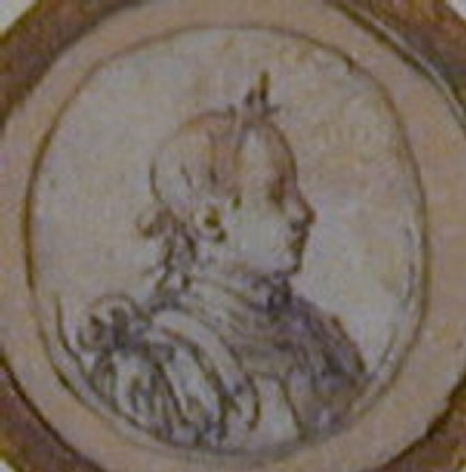 Design for a puncheon with the head of Charles IX: An oval enclosing the head of a youth in Roman armour