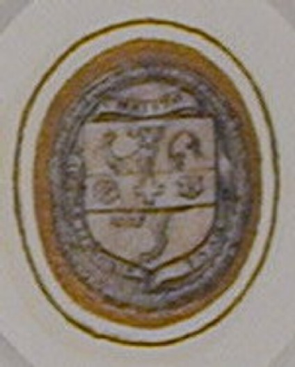 Design for a seal: An upright oval enclosing a shield emblazoned with a lion rampant, overall a fess with a cross coupled between two roses