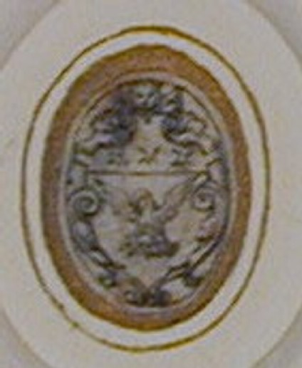 Design for a seal: An upright oval enclosing a shield emblazoned with a pelican in her piety, a lion's head, two women rising from foliate scrolls and three mullets' crests