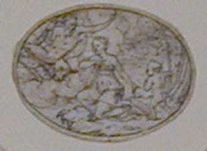 Design for a figurative, horizontal oval depicting a girl, kneeling, towards Jupiter above and pointing to a nude child