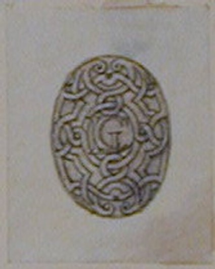 Design for a decorative oval panel enclosing a monogram of the letters LGC