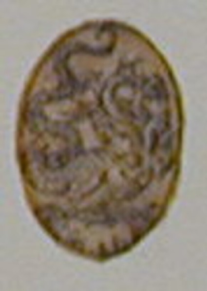 An oval depicting a hydra with bird's claws, seven bird-like heads, and a dragon's tail