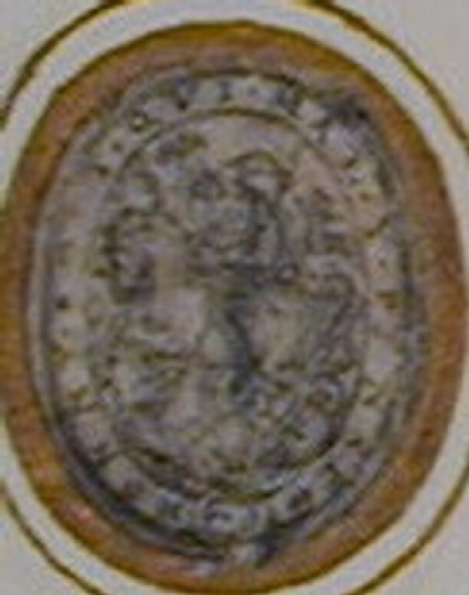 Design for a badge or dress ornament: An oval within a border fashioned like a belt, enclosing St George on horseback slaying the Dragon