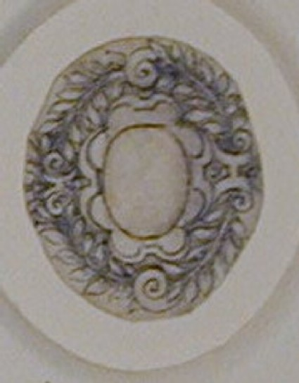 Design for a badge or dress ornament: A design for a horizontal oval jewel
