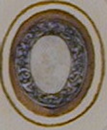 Design for a badge or dress ornament: An oval frame