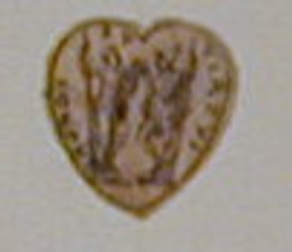 Ornament drawing: A heart-shaped panel enclosing a woman, holding a staff and cornucopia, and a man in Roman armour, holding a staff and a stout baton