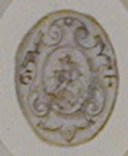 An ornament drawing: An oval depicting two dogs with collars