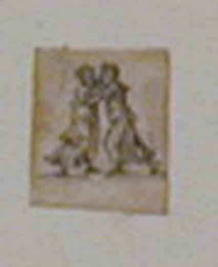 Figure study for ornamental detail: two women in an embrace
