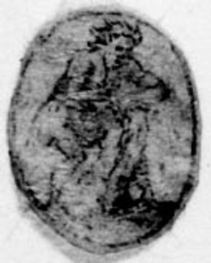 A small oval with a figure: A small oval depicting a man bent over a tree stump