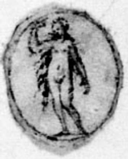 A small oval with a figure: A small oval depicting a nude woman with long hair, standing